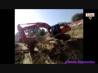 Dangerous idiot operator heavy equipment excavator fail _ win  extreme best skill working (69)