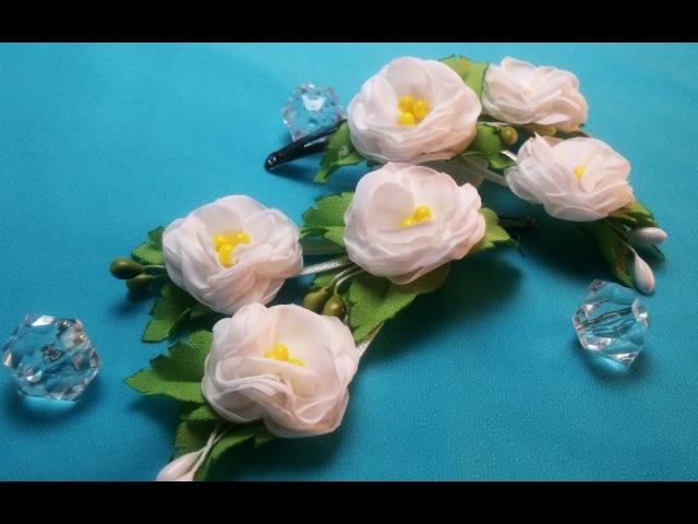 Fabric flowers:polyantha rose/Flores de tela:polyanthus rosa/Цветы из ткани: полиантовая роза.МК