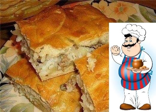 подборка самых сытных пирогов. 1. пирог с мясом легче не бывает ингредиенты: 2 яйца 0.5 ч. ложка соли 1 стакан муки 1 стакан кефира 0.5 ч. ложка соды начинка: 300 гр фарша 2-3 луковицы,