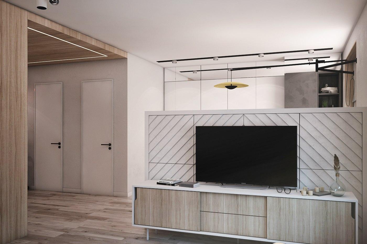 Проект квартиры-студии типовой квадратной планировки неизвестного метража.
