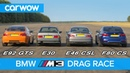 BMW M3 generations DRAG RACE ROLLING RACE review carwow