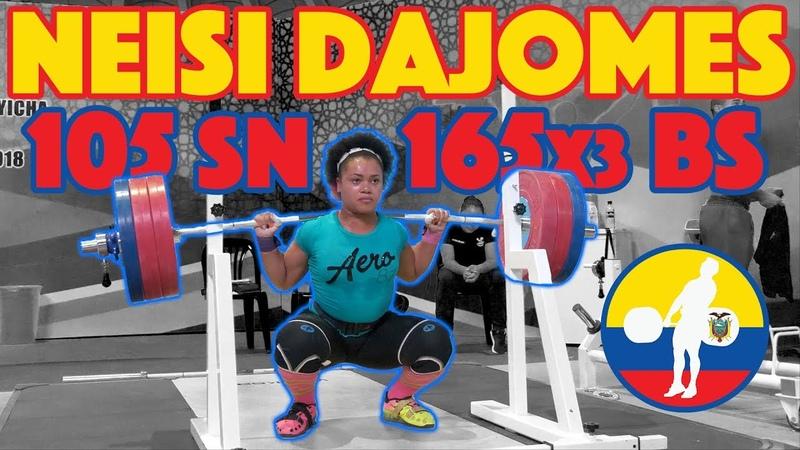 Neisi Dajomes (165kg Back Squat Triple 105kg Snatch 120kg CJ) - 2018 Junior Worlds [4k 60]