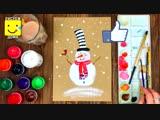 Как с детьми нарисовать снеговика на Новый год