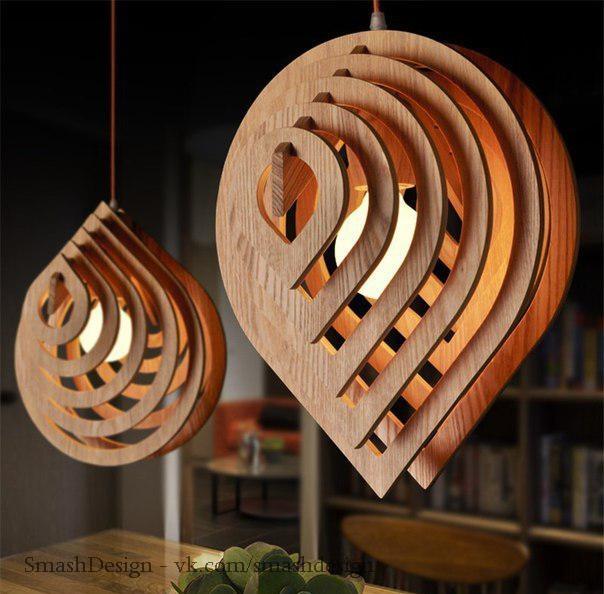 Очень стильные деревянные люстры