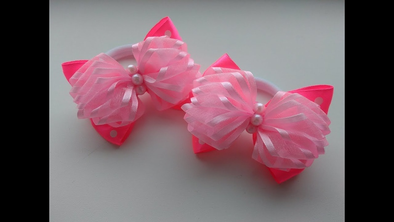 Пышные бантики из лент МК Канзаши Lush bows of ribbons MK Kanzashi