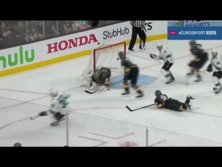 Logan Couture game winning goal in double overtime Apr 28, 2018