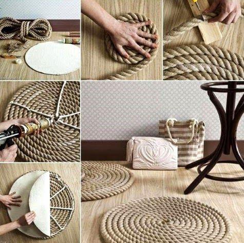 Как сделать своими руками оригинальный и простой коврик из веревки… (1 фото) - картинка
