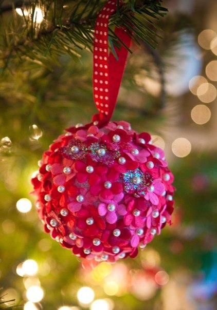 Цветочные шарики на елку. Мастер-класс (3 фото) - картинка