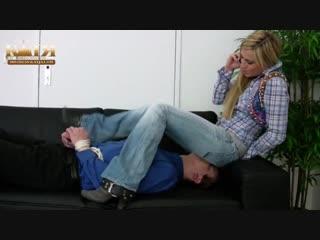 Katja sexy jeanssitting bound slave cowboy boots