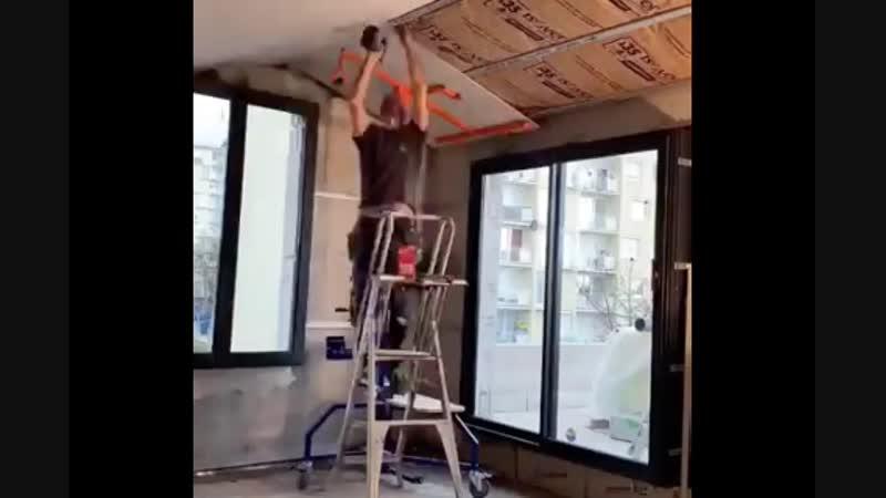 Приспособа для монтажа гипсокартона на потолок