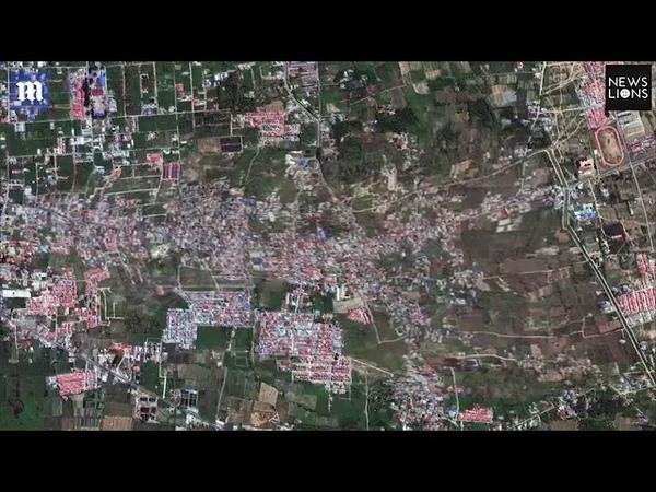Видео: спутник снял разрушение индонезийского города при землетрясении