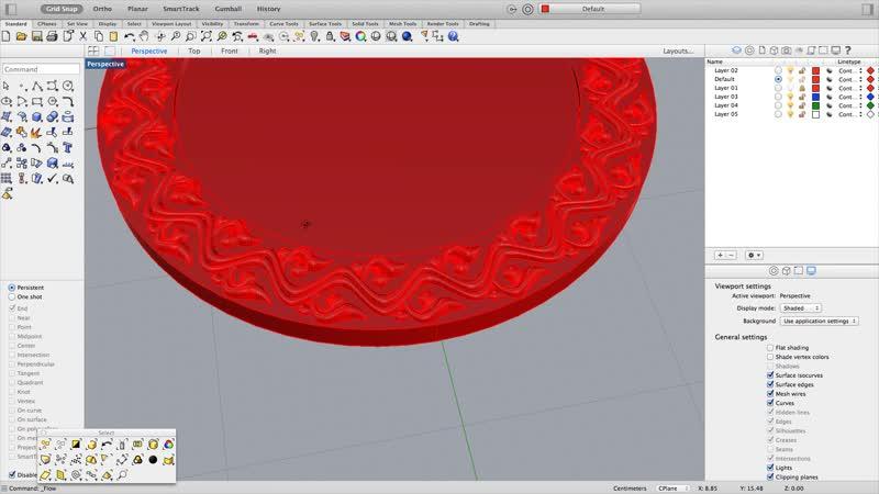 Rhino 3d — Неразрывный орнамент по кругу
