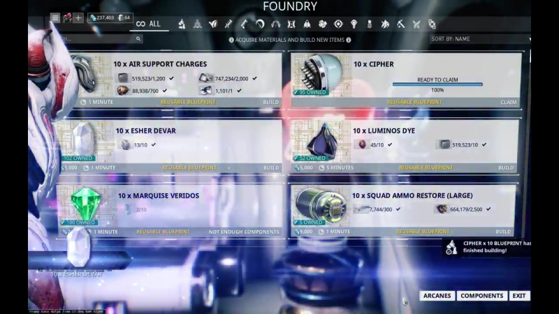 Claim All button in the Foundry!