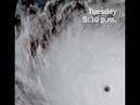 Hurricane Maria smashing Puerto Rico. Satellite image.