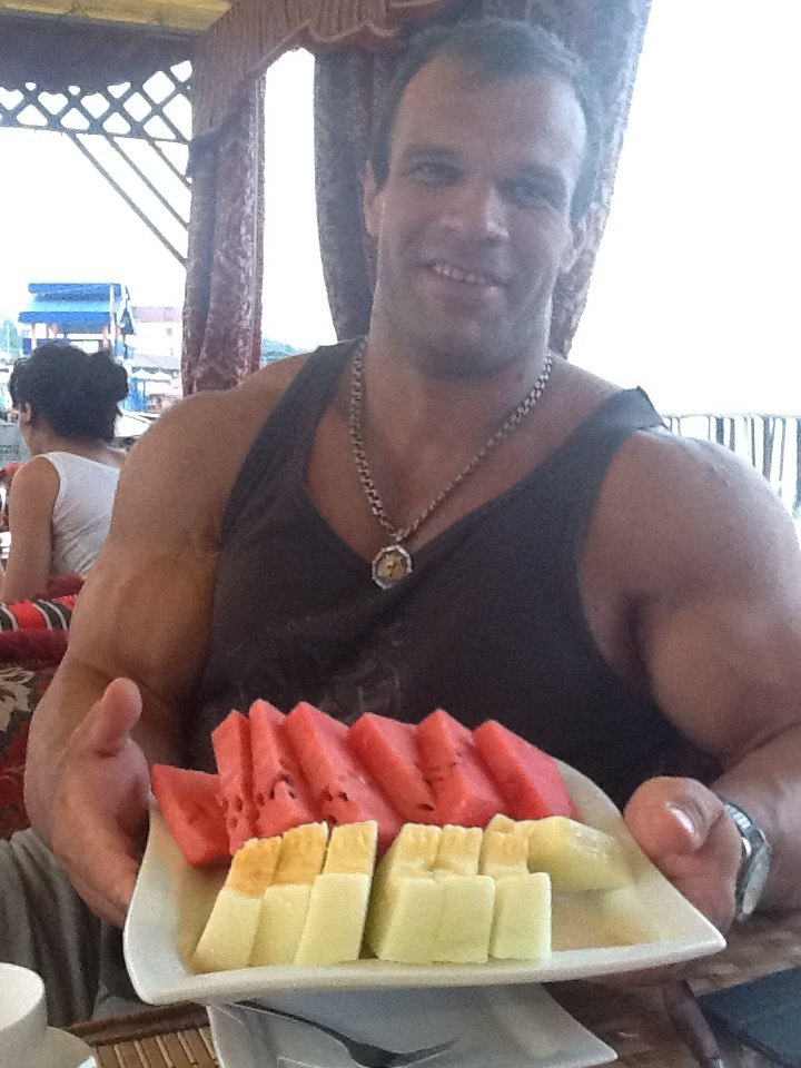 Denis Cyplenkov with a plate of Watermelon and Honeydew melon, 08 August 2013 │Photo Source: Denis Tsyplenkov