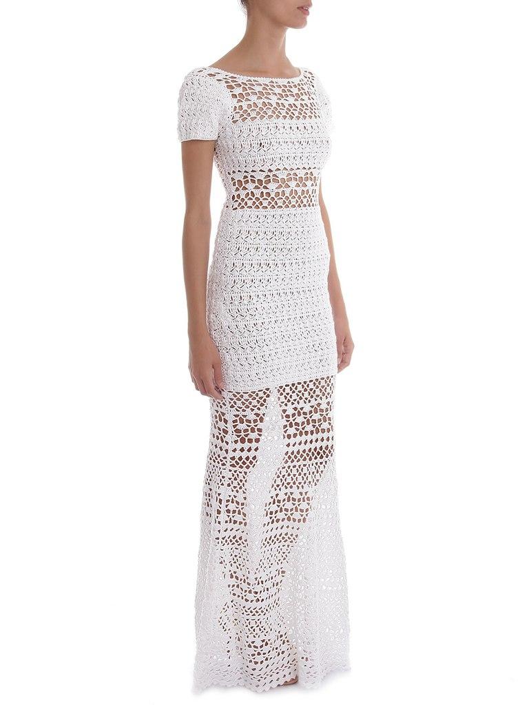 Длинное белое платье крючком