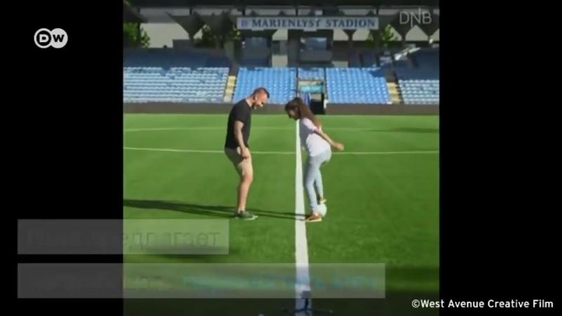 Девушка шокировала футболистов Умением владеть мячом