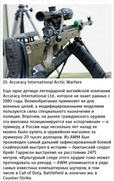 10 самых известных снайперских винтовок.