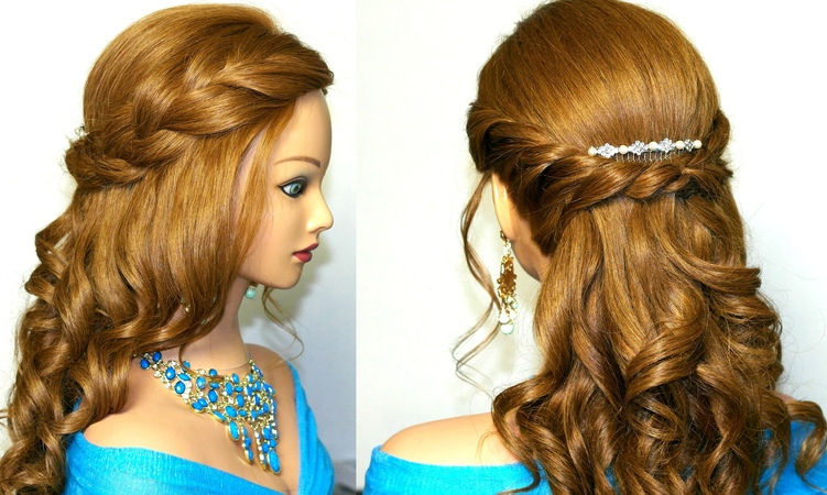 Curly prom hairstyle for medium long hair. Tutorial