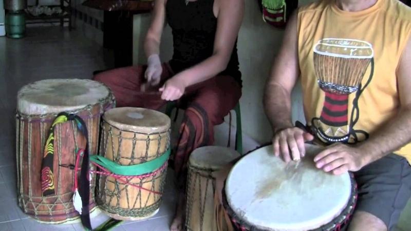 Having Fun Kuku Djembe SoloJam On Tims New Guinea Drum wCashmere Goat Skin