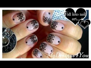 Lace Nail Art With Sheer Polish | Black Lace Short Nails ♥ Прозрачный Дизайн Ногтей Колготки