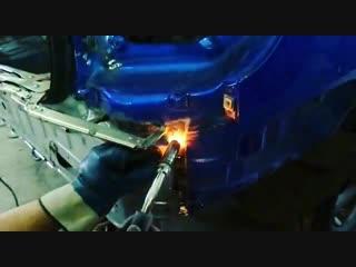 точечная сварка задней панели на кио риа у автоботаника