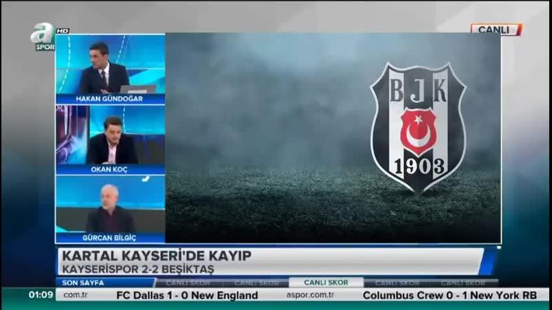 Kayserispor 2-2 Beşiktaş - Okan Koç, Hakan Gündoğar, Gürcan Bİlgiç - Son Sayfa