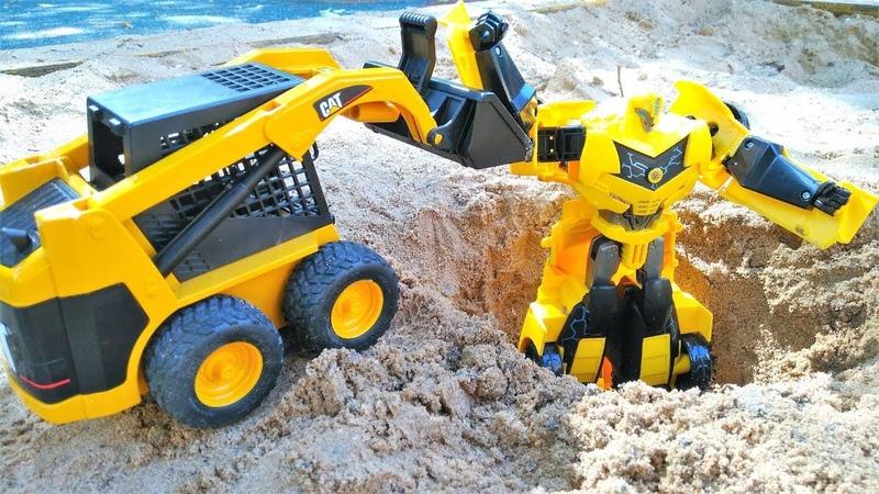 Oyuncak arabalar ve Transformers. Bumblebee çukurda kalıyor! Kurtarma operasyonu!