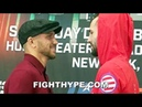 LOMACHENKO CRACKS UP DURING FACE OFF WITH JOSE PEDRAZA STARES HIM DOWN WITH A SMILE