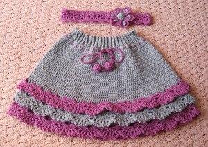 Вязаная юбка и повязка на голову крючком для девочки… (8 фото)