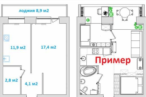 новостройка 1-комнатная Романа Куликова блок-секция 1