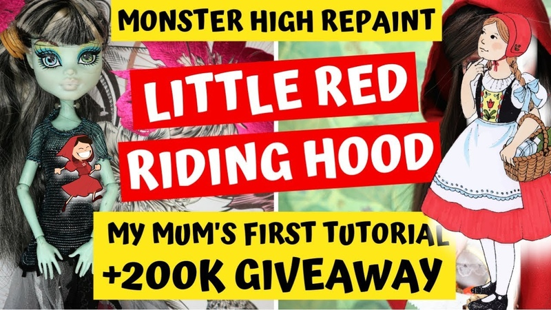 LITTLE RED RIDING HOOD - MONSTER HIGH DOLL REPAINT / How To Customize Pretty Barbie Dolls Tutorial