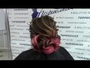 Вечерняя прическа на длинные волосы с узлами
