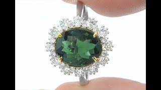 GIA Certified 3.47 tcw VVS Top Gem Color Green Tourmaline Diamond Cocktail Ring Solid 18k C297