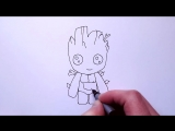 Mirage4You How to Draw Baby Groot Easy (Guardians of the Galaxy) - Step by Step Tutorial
