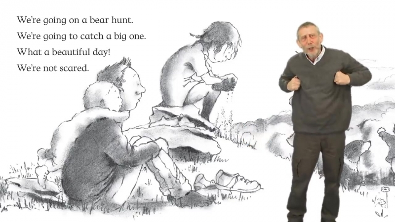 Michael Rosen performs Were Going on a Bear Hunt