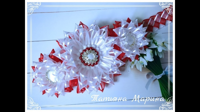 МК Воздушное украшение на гульку 🏵️из узкой органзы/uma decoração de ar em uma telha