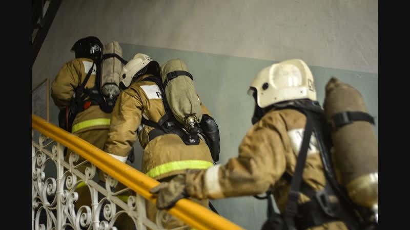В госпитале Курска тушили условный пожар