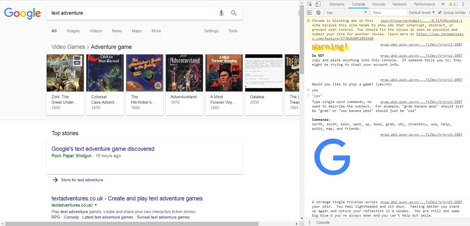 В коде поисковика Google нашли пасхалку — текстовую RPG. Никто не знает, сколько этому секрету лет