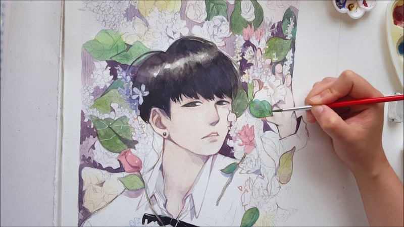 [BTS] Jungkook Fanart Watercolor Speed Paint