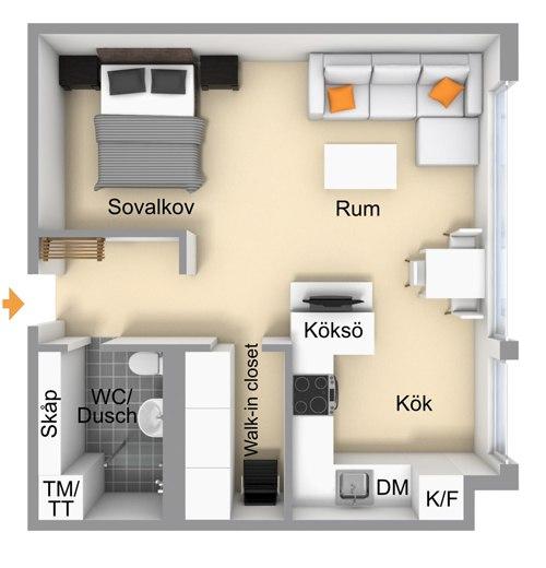 Скандинавская квартира-студия 36 м.