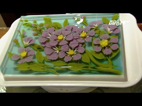(VTC14)_ Vẽ bánh thạch rau câu giải nhiệt từ hoa dậu biếc, hạt rành rành và lá cẩm tím