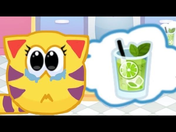 Муся напакостила в комнате Убираемя в комнате котика Мяу Сим в мультике игре для детей