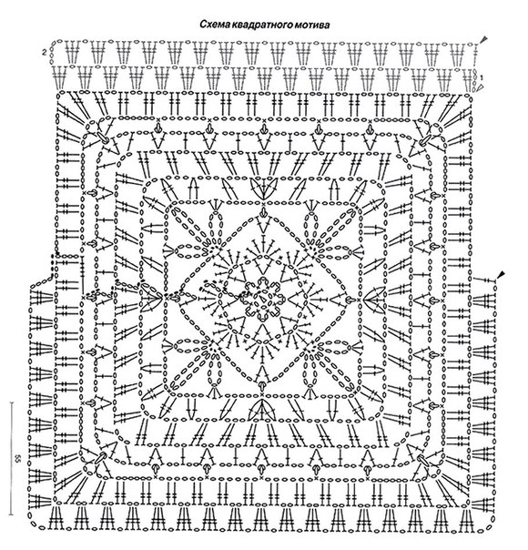 Схемы вязания скатерти крючком квадратные мотивы