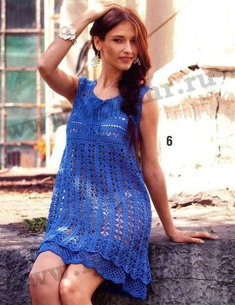 Синий сарафан крючком (2 фото) - картинка