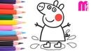 РАСКРАСКА для детей СВИНКА ПЕППА Как нарисовать ПЕППУ в луже из мультика Peppa Pig   Merry Nika