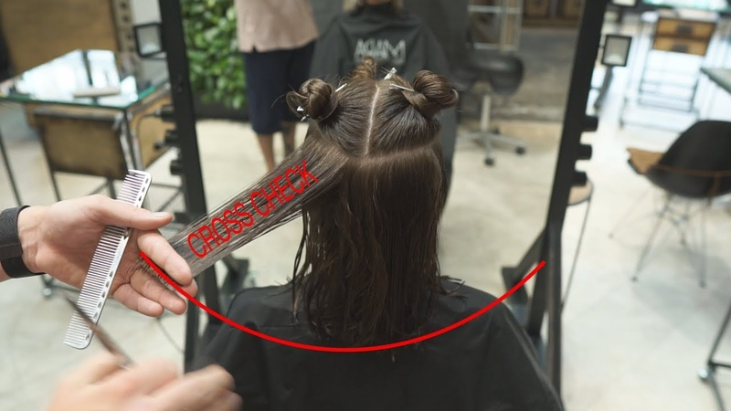 How to cut middle length women's haircut with layers, salon shape