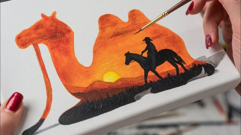 Multiple Exposure of the Camel and the Desert - Acrylic painting / Homemade Illustration (4k)