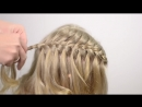 Waterfall brading on wavy hair. Party hairstyle for little girl 9