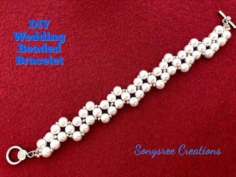 DIY Wedding Beaded Bracelet 💞..Super Easy Tutorial💞